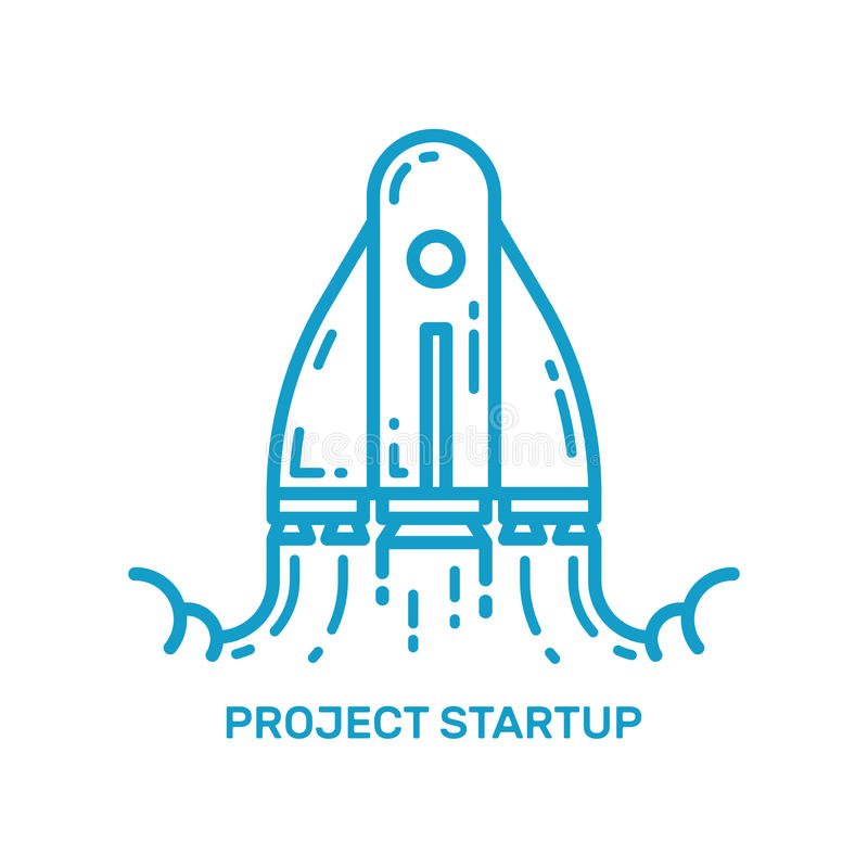 Vector illustration of flying rocket ship in line style. Space rocket launch. stock illustration