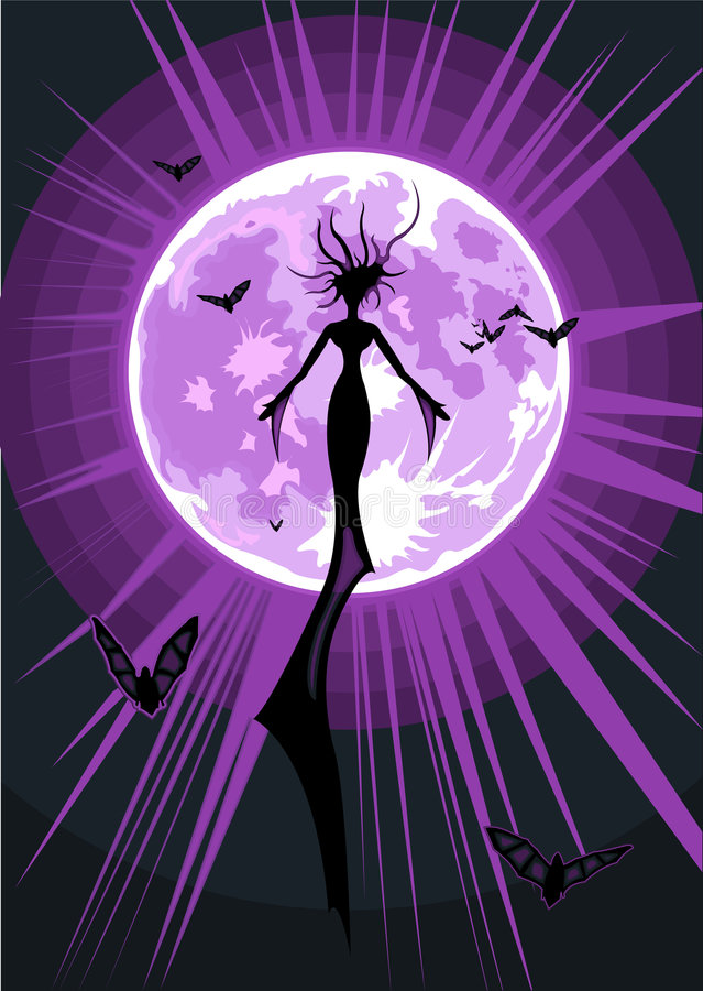 Vector illustration of a flying witch royalty free stock photos
