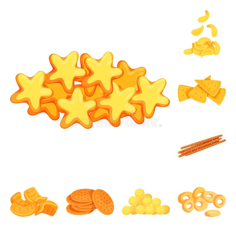 Vector design of food and crunchy logo. Set of food and flavor stock symbol for web. Vector illustration of food and crunchy icon. Collection of food and flavor royalty free illustration
