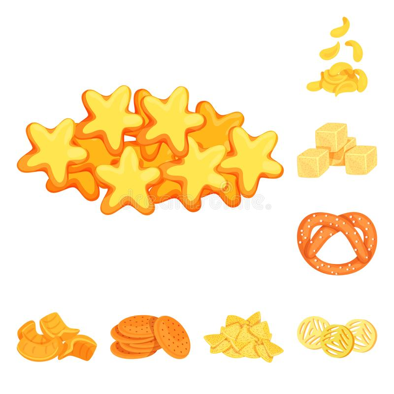 Vector design of food and crunchy logo. Set of food and flavor stock symbol for web. Vector illustration of food and crunchy icon. Collection of food and flavor stock illustration