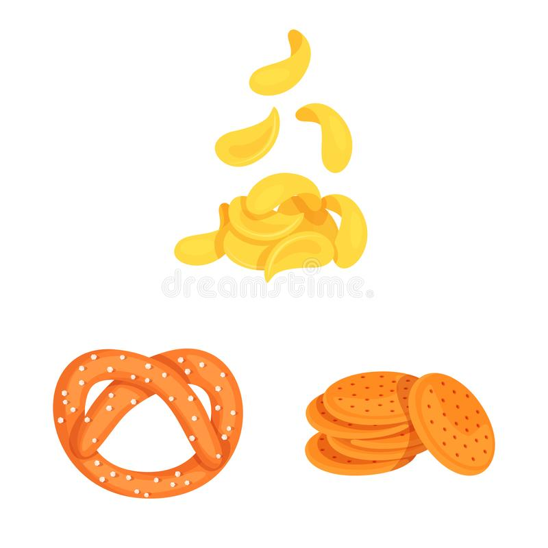 Vector illustration of food and crunchy icon. Set of food and flavor vector icon for stock. Isolated object of food and crunchy symbol. Collection of food and vector illustration