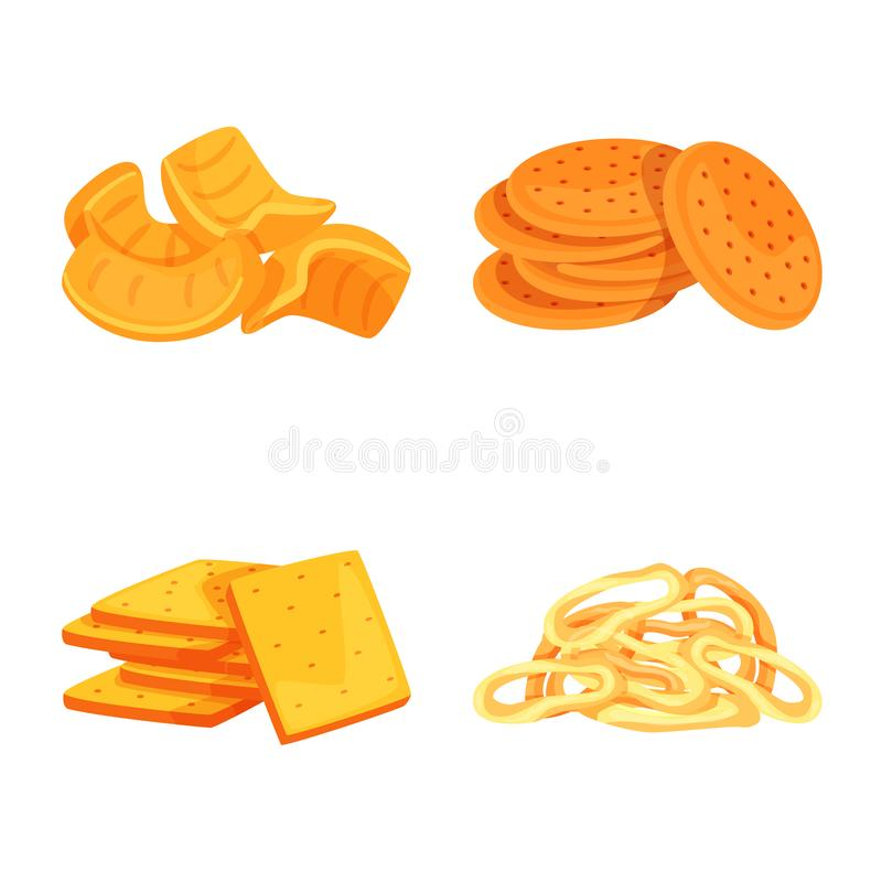 Vector design of food and crunchy logo. Collection of food and flavor stock vector illustration. Vector illustration of food and crunchy icon. Set of food and royalty free illustration