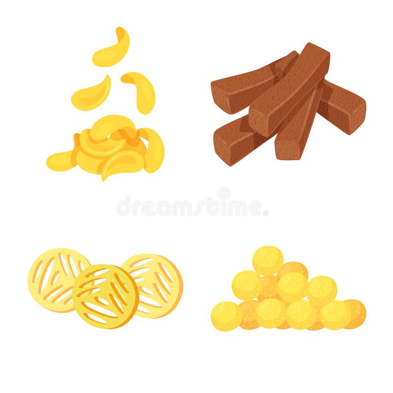 Vector illustration of food and crunchy logo. Collection of food and flavor vector icon for stock. Isolated object of food and crunchy icon. Set of food and royalty free illustration