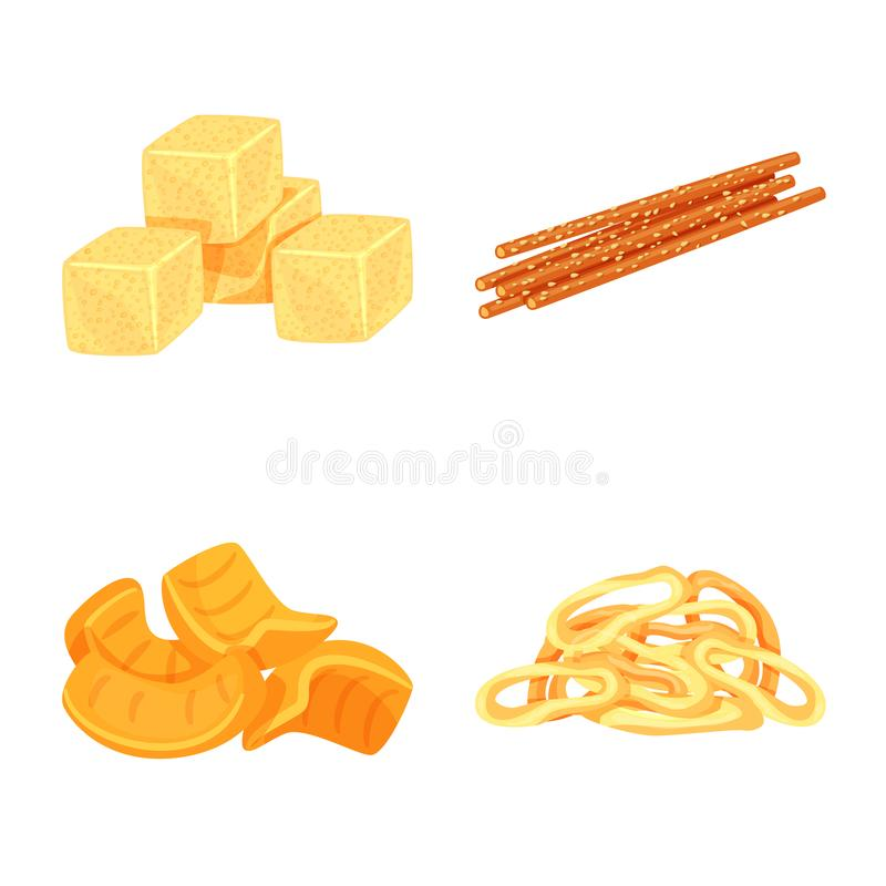 Vector illustration of food and crunchy logo. Collection of food and flavor vector icon for stock. Isolated object of food and crunchy icon. Set of food and stock illustration