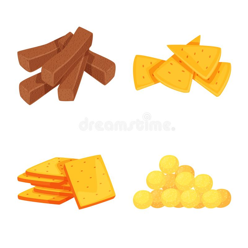 Vector design of food and crunchy sign. Collection of food and flavor stock symbol for web. Vector illustration of food and crunchy logo. Set of food and flavor vector illustration
