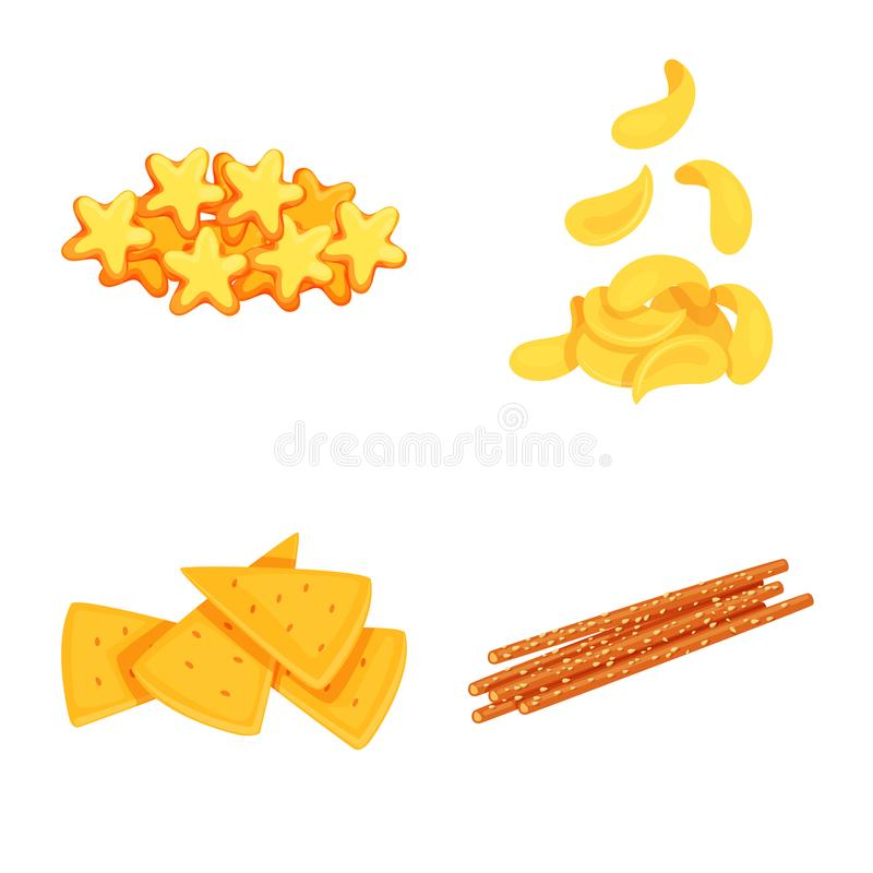 Vector design of food and crunchy symbol. Collection of food and flavor vector icon for stock. Vector illustration of food and crunchy sign. Set of food and stock illustration
