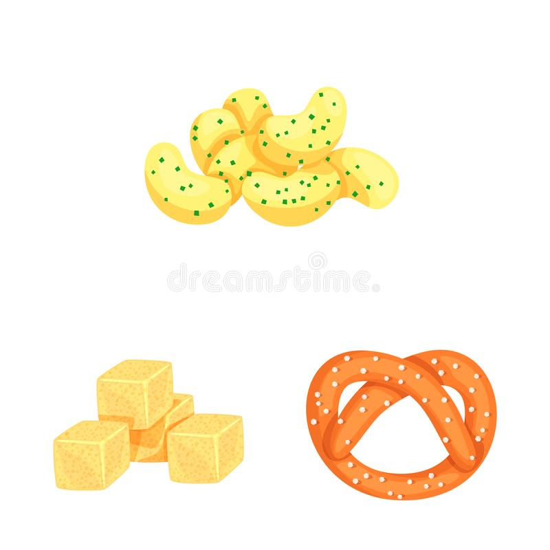 Vector design of food and crunchy icon. Set of food and flavor stock symbol for web. Vector illustration of food and crunchy symbol. Collection of food and vector illustration