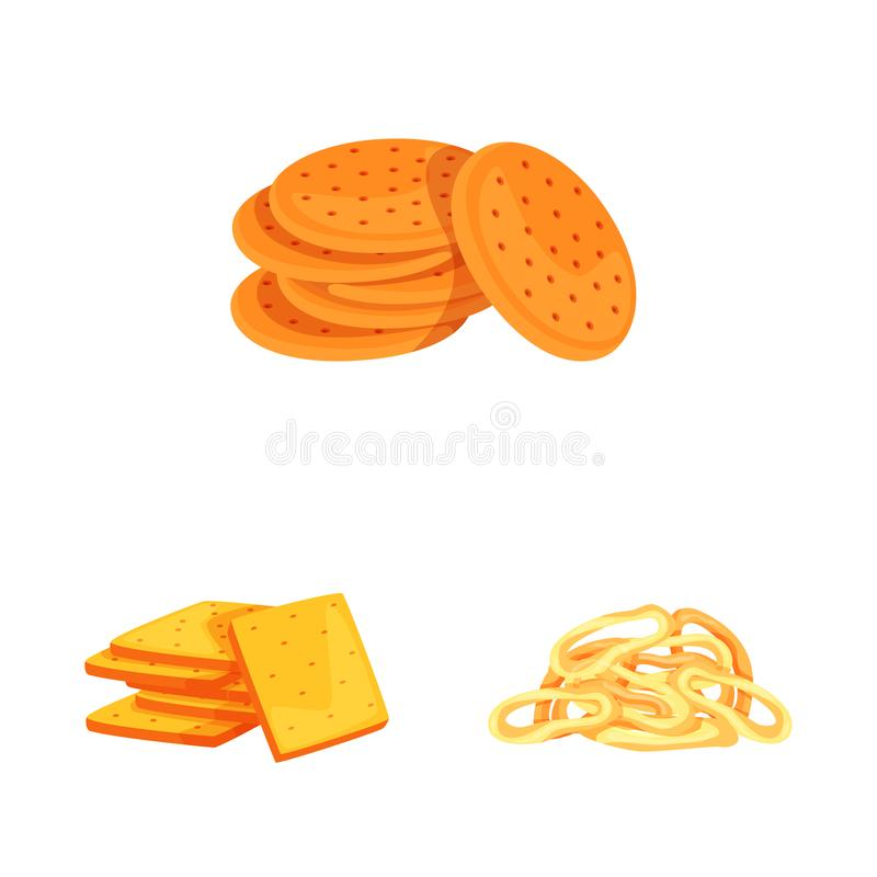 Vector illustration of food and crunchy symbol. Collection of food and flavor vector icon for stock. Isolated object of food and crunchy sign. Set of food and vector illustration