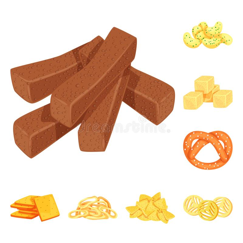Vector design of food and crunchy icon. Collection of food and flavor stock symbol for web. Vector illustration of food and crunchy symbol. Set of food and stock illustration