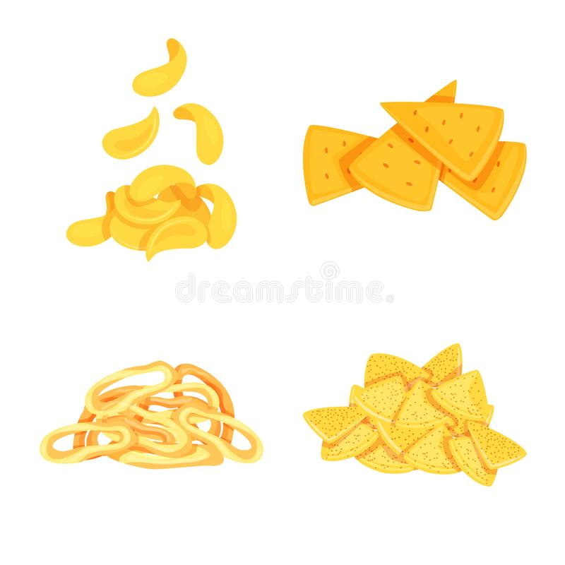 Vector illustration of food and crunchy symbol. Set of food and flavor stock symbol for web. Isolated object of food and crunchy sign. Collection of food and royalty free illustration