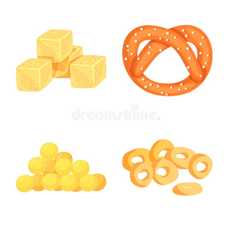 Vector illustration of food and crunchy symbol. Set of food and flavor vector icon for stock. Isolated object of food and crunchy sign. Collection of food and stock illustration