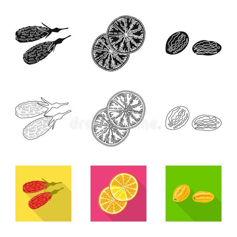 Vector illustration of food and raw logo. Set of food and nature vector icon for stock. Isolated object of food and raw icon. Collection of food and nature royalty free illustration