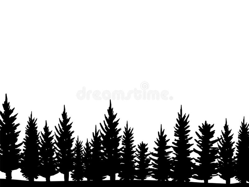 Forest of Christmas fir trees silhouette. Coniferous spruce panorama. Park of evergreen wood. Vector on white background. Vector illustration Forest of Christmas vector illustration