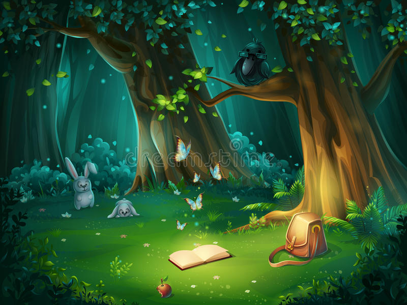 Vector illustration of a forest glade with raven and book stock illustration