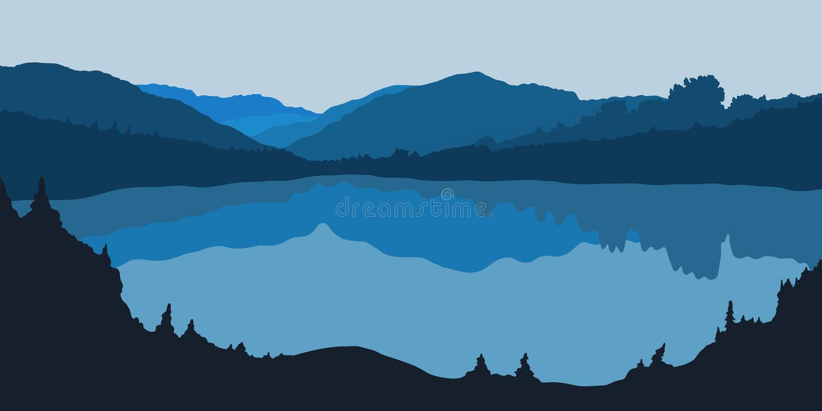 Vector illustration of forest panorama silhouette with lake royalty free illustration