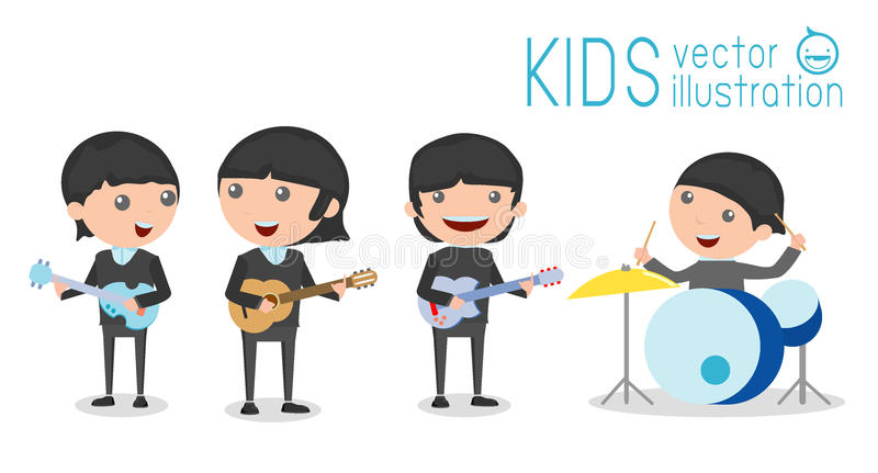 Vector illustration of four kids in a music band, Children playing Musical Instruments. Illustration of Kids playing different musical instruments,Vector royalty free illustration