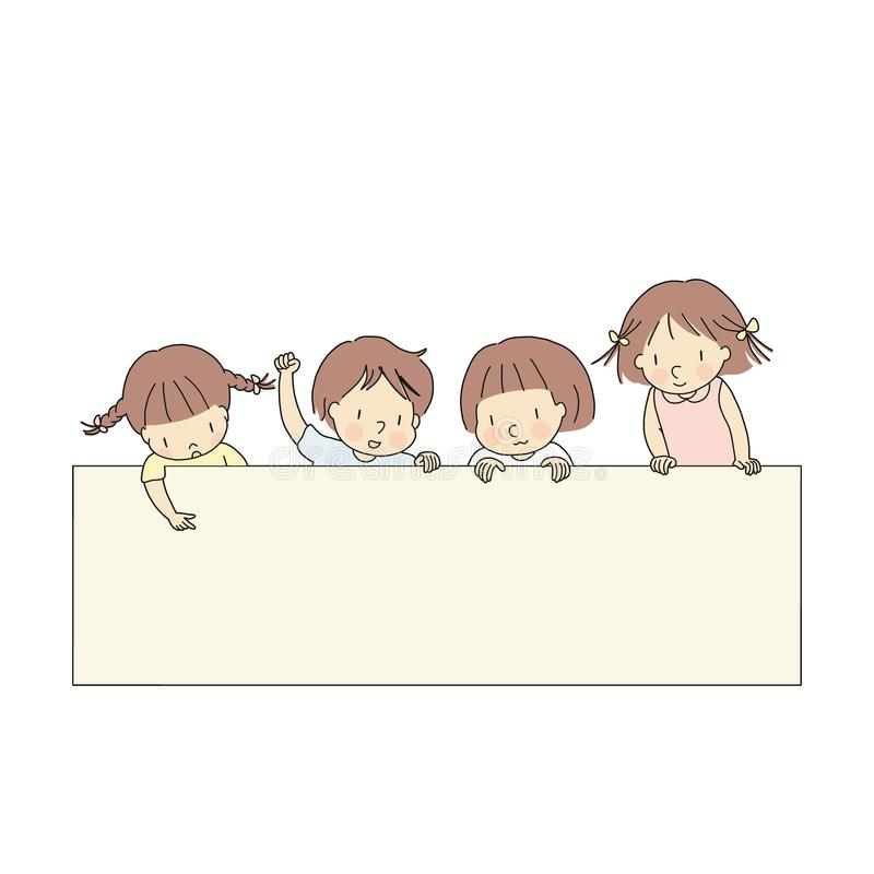 Vector illustration of four little kids, boy & girls, pointing and looking at blank template for presentation, brochure or banner royalty free illustration