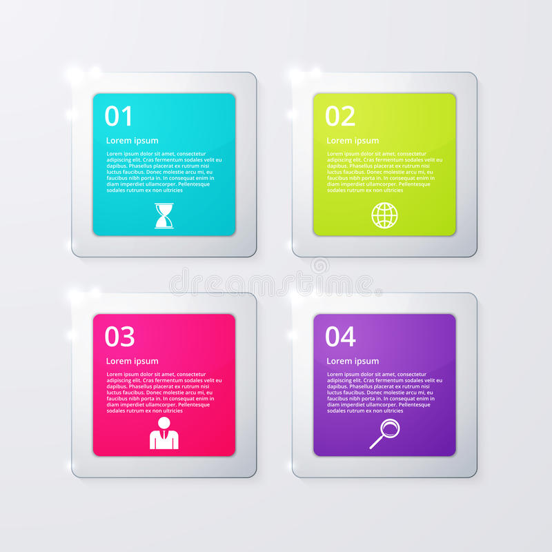 Vector illustration of four square infographics royalty free illustration