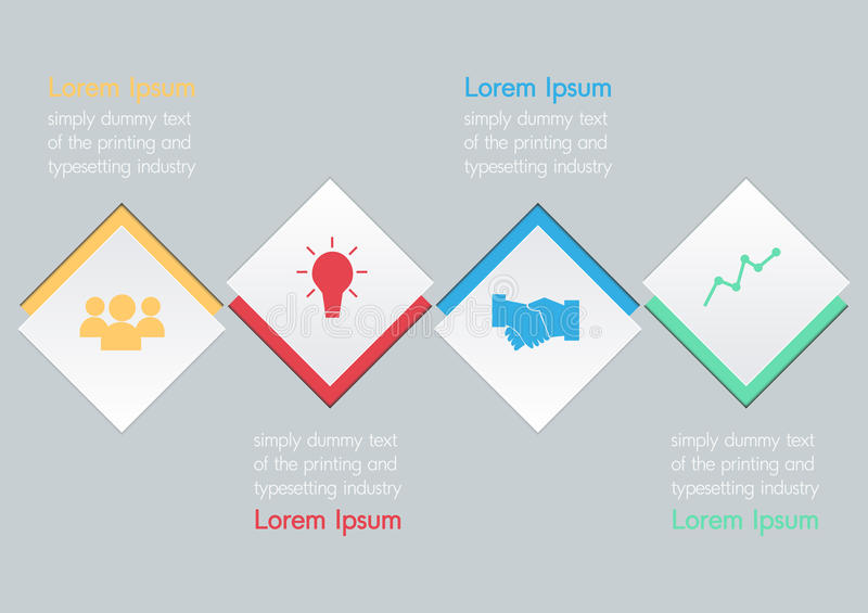 Vector illustration of four square options infographic vector illustration