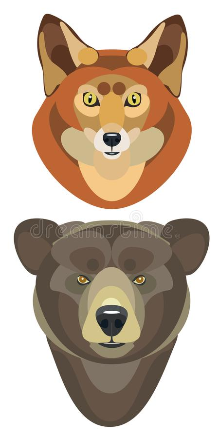 Vector illustration of fox head and bear head on white background stock photography