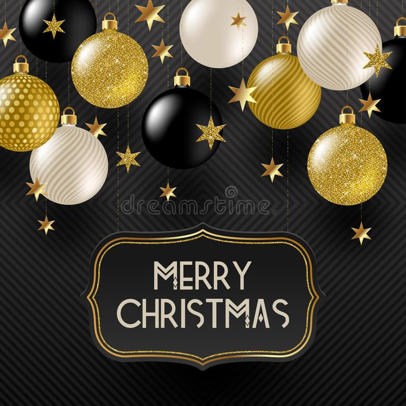 Frame with Christmas greeting , Golden stars and black, white and glitter gold Christmas baubles. vector illustration