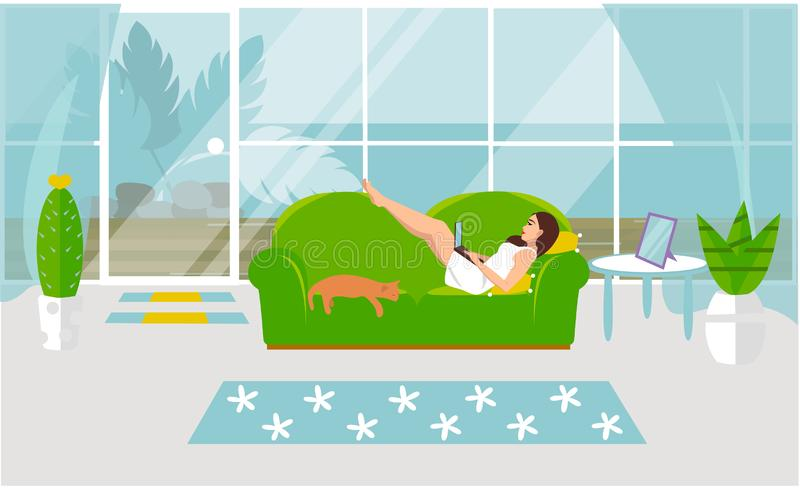 Vector illustration of freelance work. A girl is working on a computer and is lying on a sofa with a cat at home vector illustration