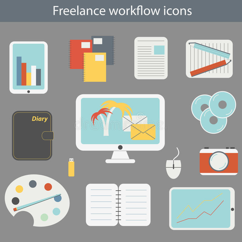 Vector illustration with freelance workflow icons royalty free illustration