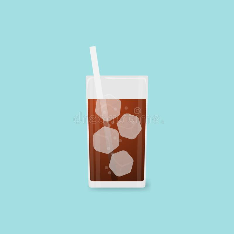 Vector illustration Fresh cool cola in glass on blue background royalty free illustration
