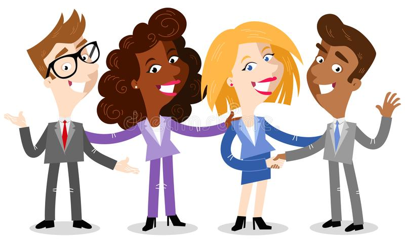 Vector illustration of friendly cartoon business people smiling and shaking hands. Isolated on white background stock illustration