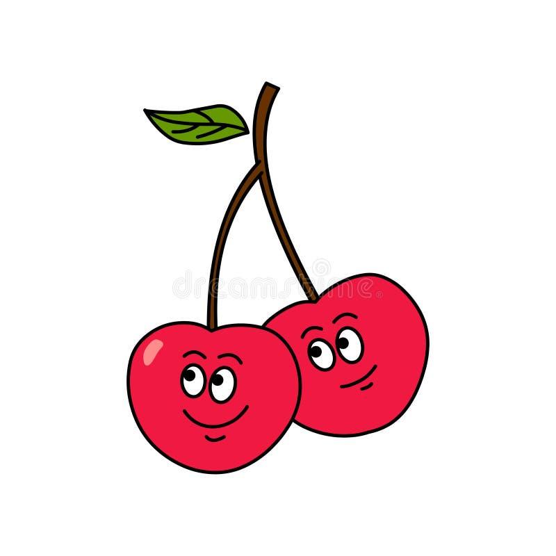 Cartoon cherry vector.Cartoon fruit vector stock illustration