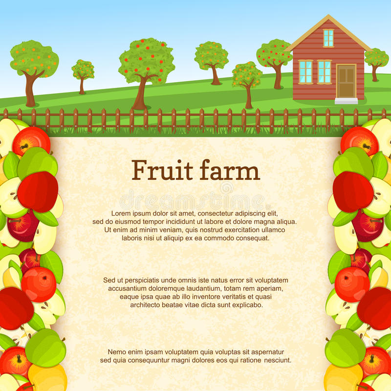 Vector illustration of a fruit farm. Juicy apple fruit border. vector illustration