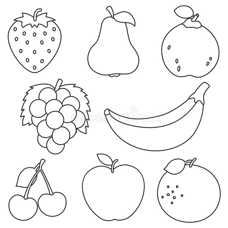 Vector Illustration Of Fruits Coloring Page Stock Illustration Illustration Of Contour Juice 144964398