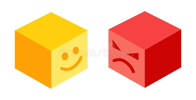 Funny and angry smiles stock illustration