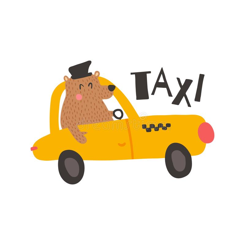 Bear taxi. Vector illustration, funny bear driver in a yellow taxi, isolated background stock illustration