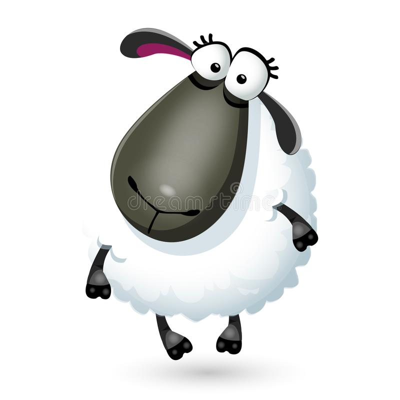 Vector illustration of funny cartoon sheep character on white stock illustration