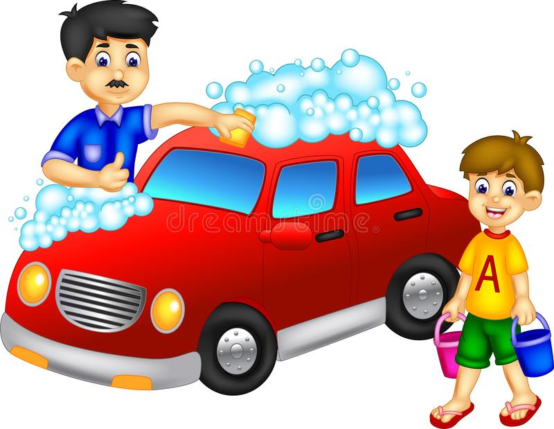 Funny father and son cartoon washing car with smiling stock illustration