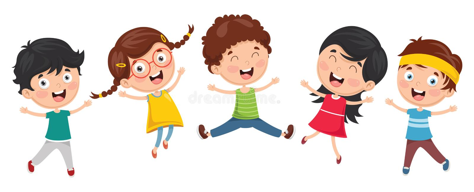 Vector Illustration Of Funny Kids Playing Outside. Eps 10 royalty free illustration