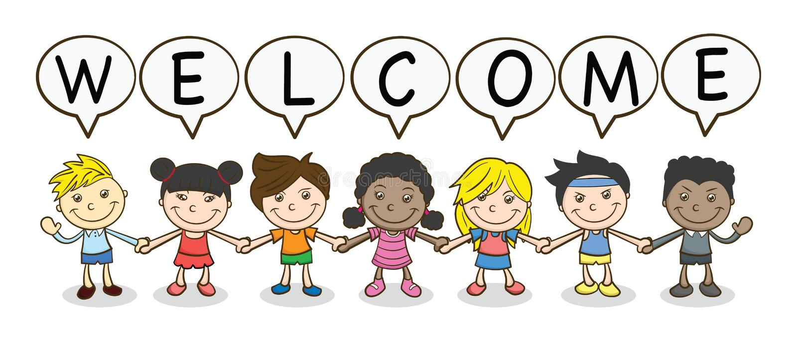 Vector Illustration Of Funny Kids Welcome Stock Vector - Illustration of  heart, gills: 159065872