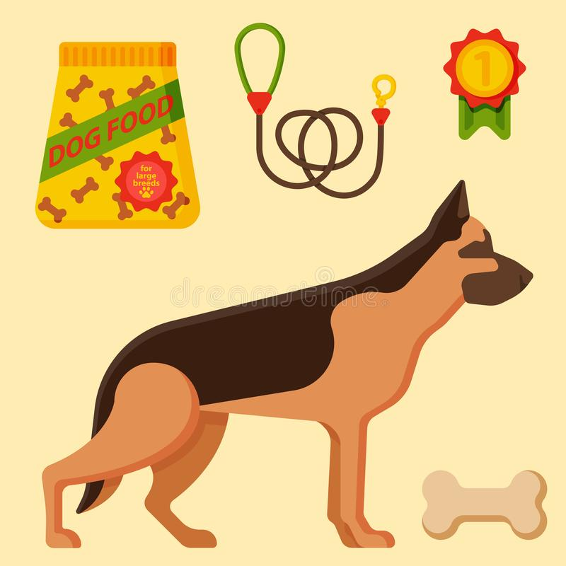 Vector illustration funny thoroughbred german shepherd dog attentive happy pet pedigree canine accessory. Vector illustration funny thoroughbred german shepherd royalty free illustration