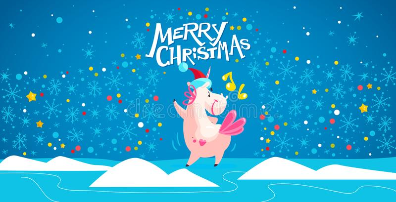 Vector illustration of funny unicorn in santa hat dancing on blue winter background with snowflake, confetti and sky landscape. vector illustration