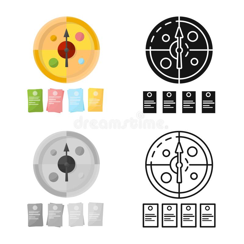 Vector design of game and roulette sign. Set of game and cards vector icon for stock. Vector illustration of game and roulette logo. Collection of game and royalty free illustration
