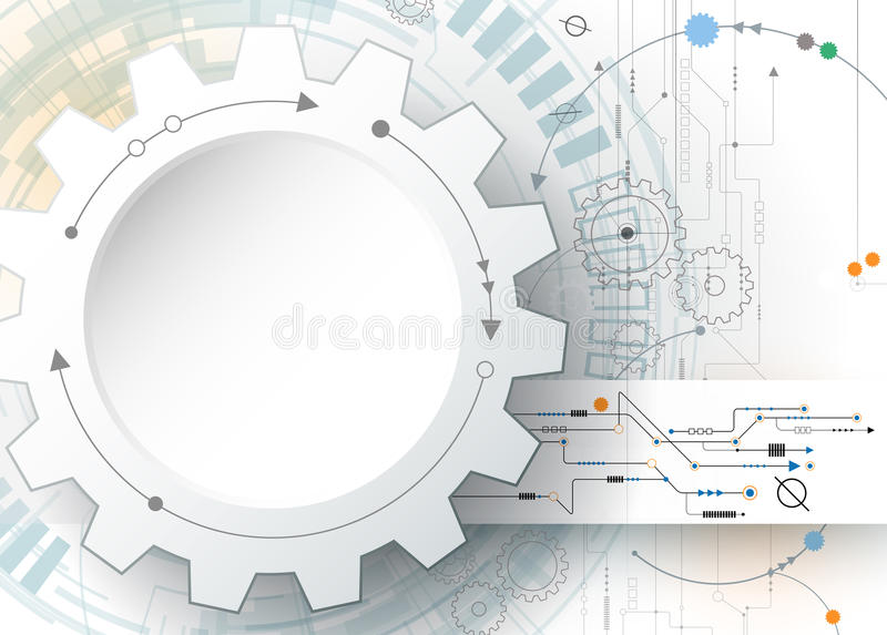 Vector illustration gear wheel and circuit board, Hi-tech digital technology and engineering. Digital telecom technology concept. Abstract futuristic on light royalty free illustration