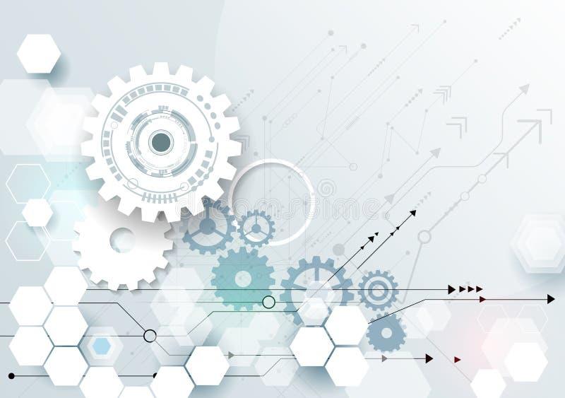 Vector illustration gear wheel, hexagons and circuit board stock illustration