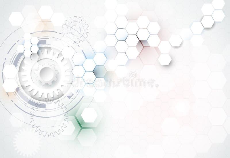 vector illustration gear wheel  hexagons and circuit board  hi
