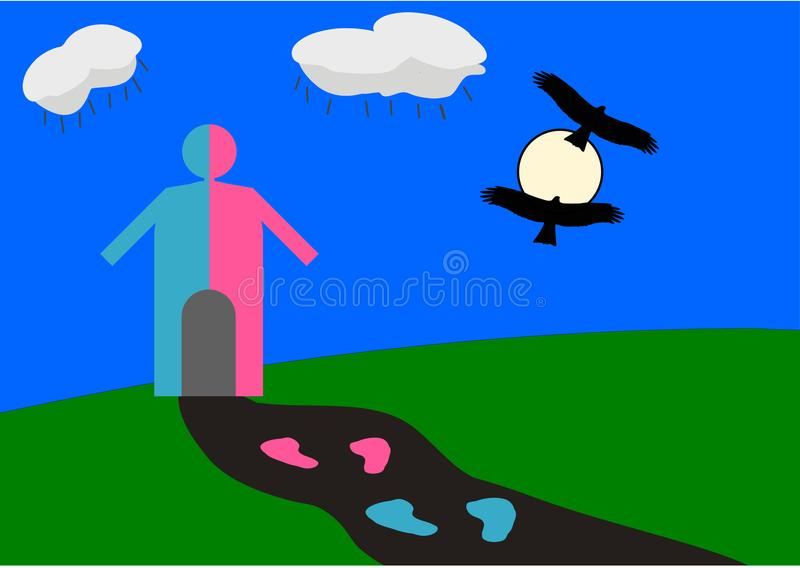 Vector Illustration of Gender Equal world with half blue and half pink human hut and black flying birds. Passing through sun making combined Gender symbol blue vector illustration
