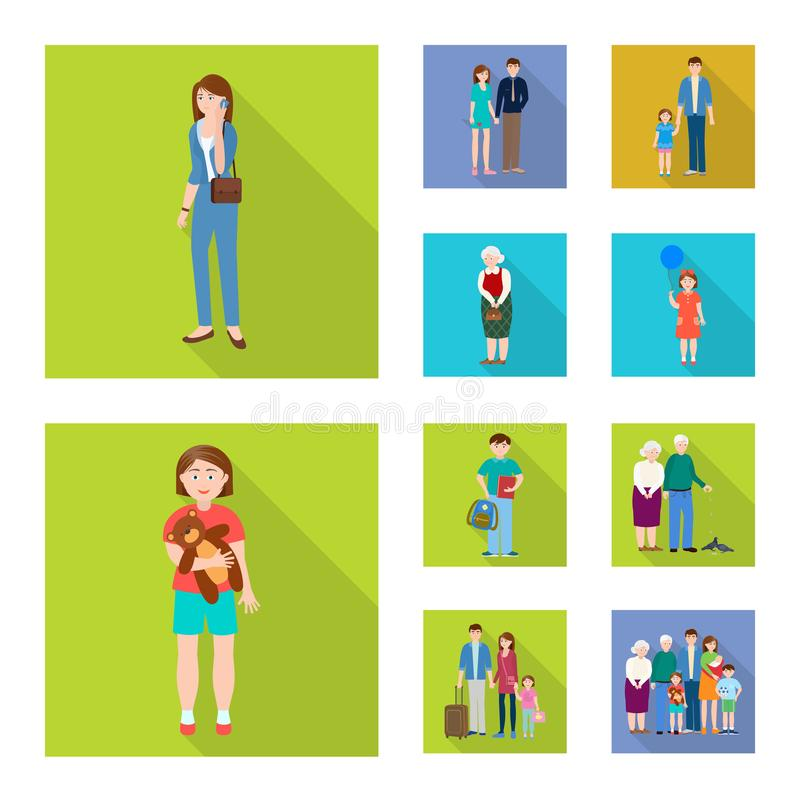 Vector illustration of generation and happy logo. Collection of generation and avatar vector icon for stock. Isolated object of generation and happy icon. Set stock illustration