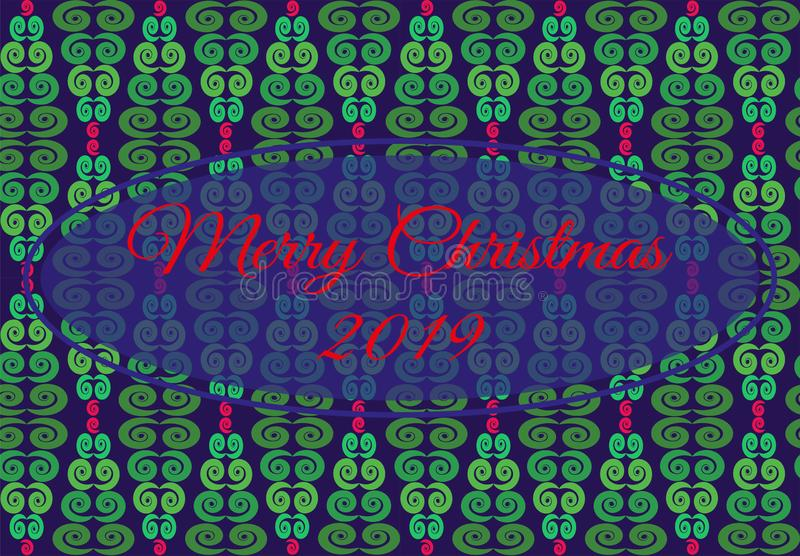 Vector illustration with geometric pattern from Christmas tree of green,red,blue flowers. entral frame with text Merry Christmas. stock illustration