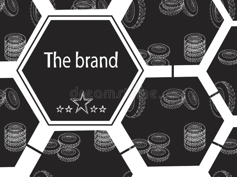 A vector illustration with geometric shapes for tire shop or tire fitting. Vector banner with linear tires on a black background. Illustration for tire shop or royalty free stock images