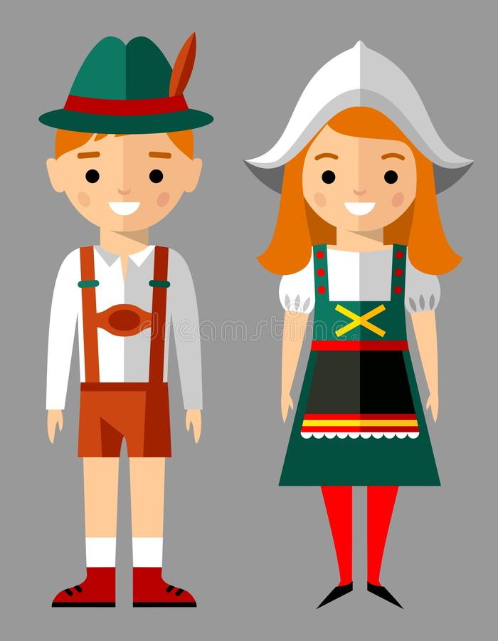 Vector illustration of german children, boy, girl, people. Set of german woman and man dressed in national costumes