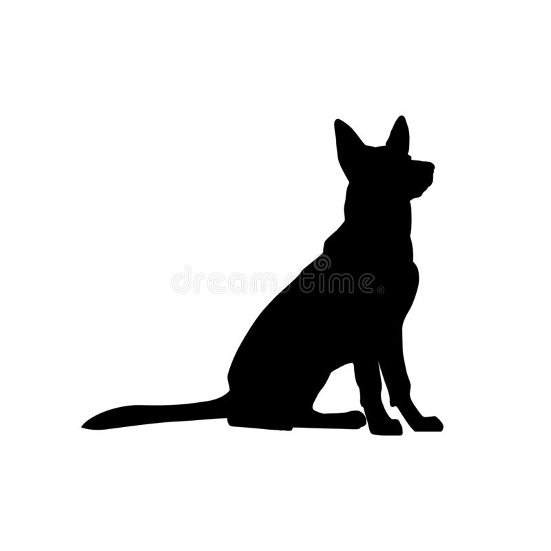 German shepherd dog sitting silhouette stock illustration